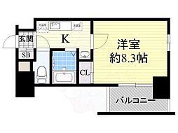 ハーバーハウス大阪 2階1Kの間取り