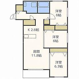 北海道札幌市西区発寒八条10丁目の賃貸マンションの間取り
