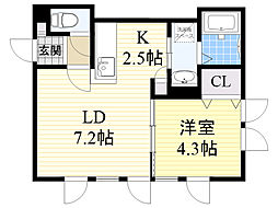 北海道札幌市東区北25条東14丁目の賃貸アパートの間取り