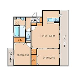奈良県奈良市大安寺3丁目の賃貸アパートの間取り