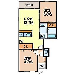 長与町新築アパート(仮)[1階]の間取り