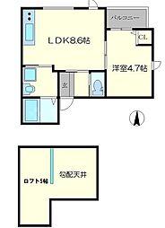 Lei上新庄 3階1LDKの間取り