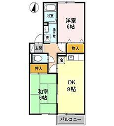 兵庫県姫路市勝原区宮田の賃貸アパートの間取り