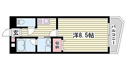神戸市西神・山手線 伊川谷駅 徒歩9分の賃貸マンション 4階1Kの間取り