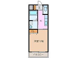 近鉄名古屋線 江戸橋駅 徒歩10分の賃貸マンション 2階1Kの間取り