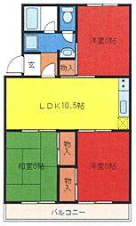 埼玉県さいたま市緑区道祖土3丁目の賃貸マンションの間取り