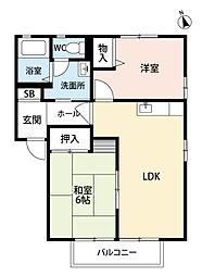 福岡県中間市通谷6丁目の賃貸アパートの間取り