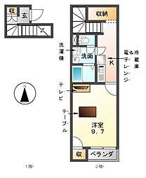 愛知県津島市東中地町1の賃貸アパートの間取り