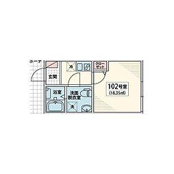 JR総武線 小岩駅 徒歩11分の賃貸アパート 1階1Kの間取り