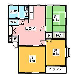 サンハイツ西高崎 II棟[1階]の間取り