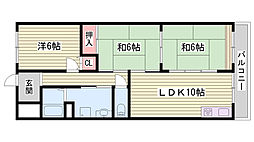 兵庫県神戸市西区白水2丁目の賃貸マンションの間取り