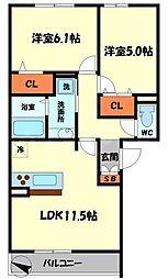 アドバンス[3階]の間取り
