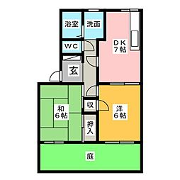 グリーンハウス花の木 C棟[1階]の間取り