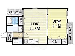 フジパレス今川3番館 3階1LDKの間取り