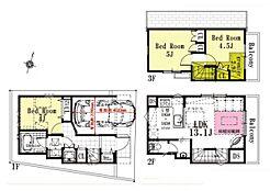 A区画 建物参考プラン間取り/3LDK、延床面積/62.96?、建物参考価格/1500万円(税込)