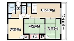 愛知県名古屋市天白区御幸山の賃貸マンションの間取り