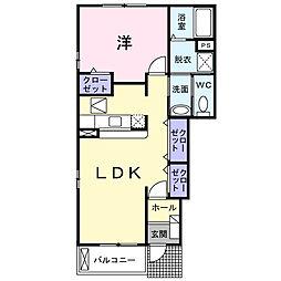 神奈川県伊勢原市沼目6の賃貸アパートの間取り