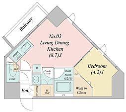 江戸川6丁目新築マンション 6階1LDKの間取り