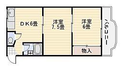ロイヤルハイツ深井清水[305号室]の間取り