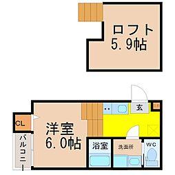 愛知県名古屋市緑区鳴海町字下中の賃貸アパートの間取り
