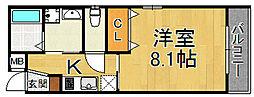 モレス・ヴィラ尼崎 1階1Kの間取り