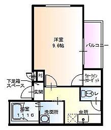ラフィーネ聖天坂Ⅵ[2階]の間取り
