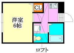 レトワール京成大久保[105号室]の間取り