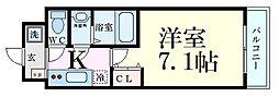 ウインズコート新大阪II 7階1Kの間取り