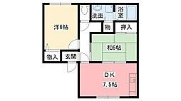 兵庫県西宮市上大市3丁目の賃貸アパートの間取り