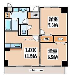 グランデフィオーレ 1階2LDKの間取り