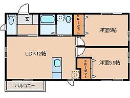福岡県中間市中央2丁目の賃貸アパートの間取り