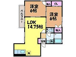 愛媛県松山市市坪南1丁目の賃貸アパートの間取り