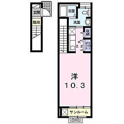 ガーデンハウスM D(アパート) 2階1Kの間取り
