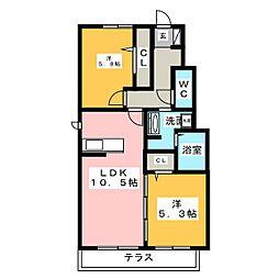 愛知県東海市名和町汐田東の賃貸アパートの間取り