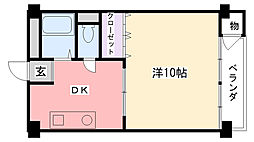 新甲子園マンション[411号室]の間取り