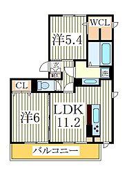 千葉県流山市古間木の賃貸アパートの間取り