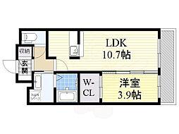 阪急京都本線 南茨木駅 徒歩20分の賃貸マンション 2階1LDKの間取り