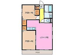 クラウドIII B棟[1階]の間取り
