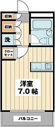 ローズマンション南行徳M-1 1階ワンルームの間取り