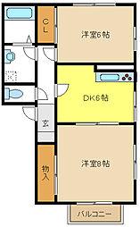 愛知県名古屋市中村区郷前町2丁目の賃貸アパートの間取り