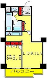 文京グリーンコートビュータワー本駒込A棟 9階1LDKの間取り