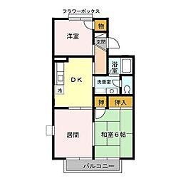 レジデンスKASUYA[101号室]の間取り