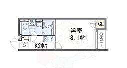 レオパレスクレイノアローウェアハウス 2階1Kの間取り