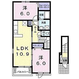 ラ・フランセ高間木 B[2階]の間取り