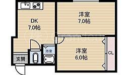 マンション富士[4階]の間取り