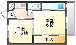 岡山県岡山市北区尾上の賃貸マンションの間取り