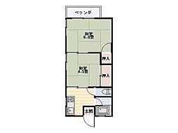 望洋荘[201号室]の間取り