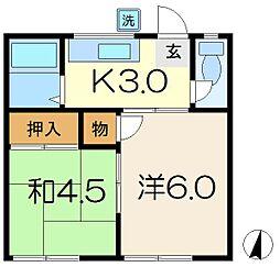 米田コーポ[1階]の間取り
