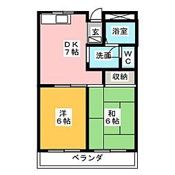 三重県鈴鹿市稲生塩屋1丁目の賃貸マンションの間取り