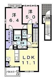 宮崎県宮崎市学園木花台桜2丁目の賃貸アパートの間取り